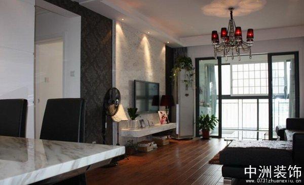 黑白现代风格客厅电视背景墙装修实景图