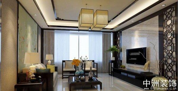 中式石材电视墙效果图-现代中式风格家装装修实景图